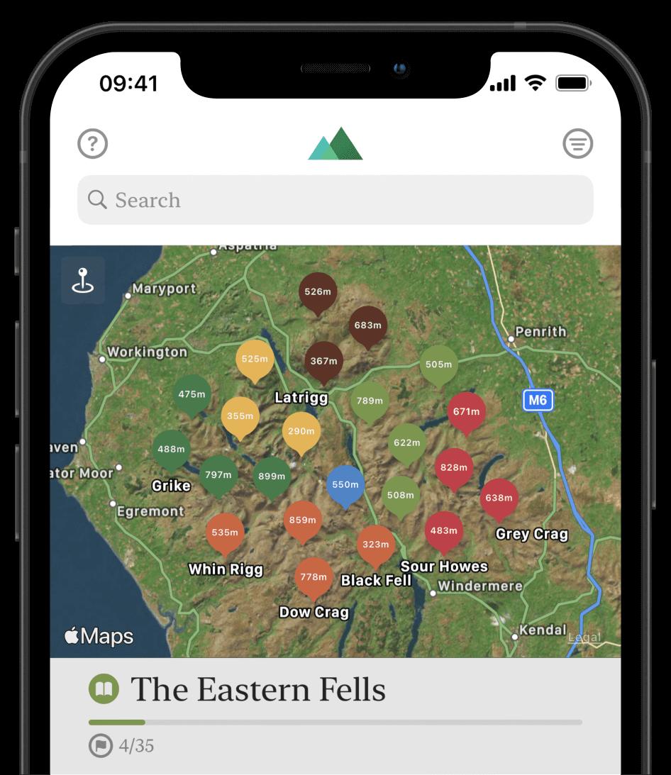 Fells app screenshot